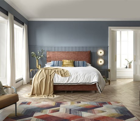 Shallow base on legs with Delano headboard shown in Malton Sunset