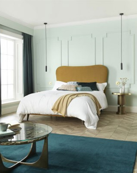 Slim base on legs with Florin headboard shown in Seven Ocre 2