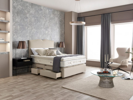 APSLEY Traditional deep base with Embrace headboard shown in Wool Style Natural