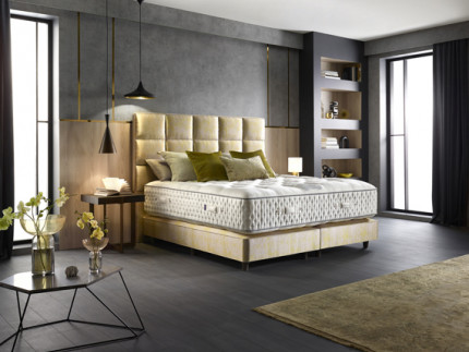 Connaught Shallow base on legs with Roma headboard shown in Filippo Acacia 2