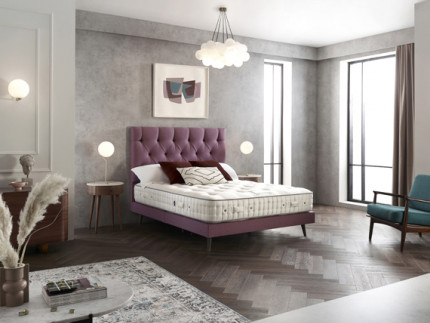 Diplomat Slim base on legs with Wiltern headboard shown in Wool Style Pink 2