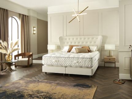 Excelsior Shallow base on legs with Victoria headboard shown in Toro Pearl 2