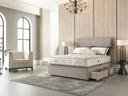 Regent Deep base with Seville headboard shown in Oxford Sand 2