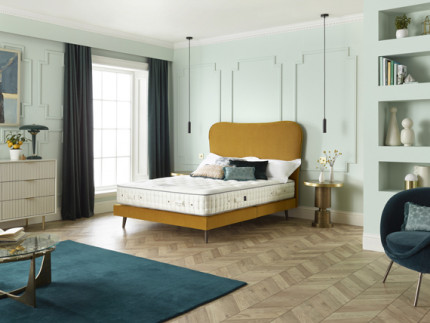 Viceroy Slim base on legs with Florin headboard shown in Seven Ocre 2