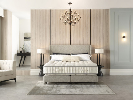Viscount Shallow base on legs with Geneva headboard shown in Rustika Marble 2