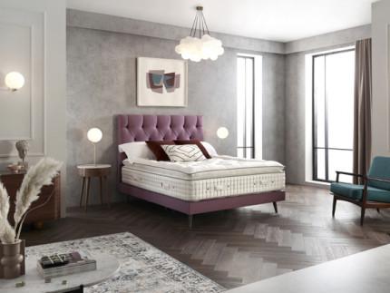 Woburn Slim base on legs with Wiltern headboard shown in Wool Style Pink 2